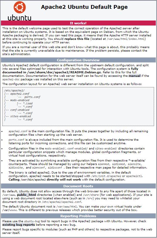 Apache2 ubuntu dafault page