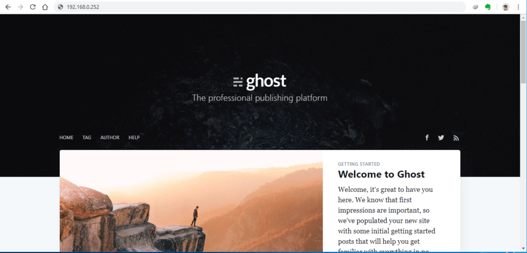 Ghost CMS docker container