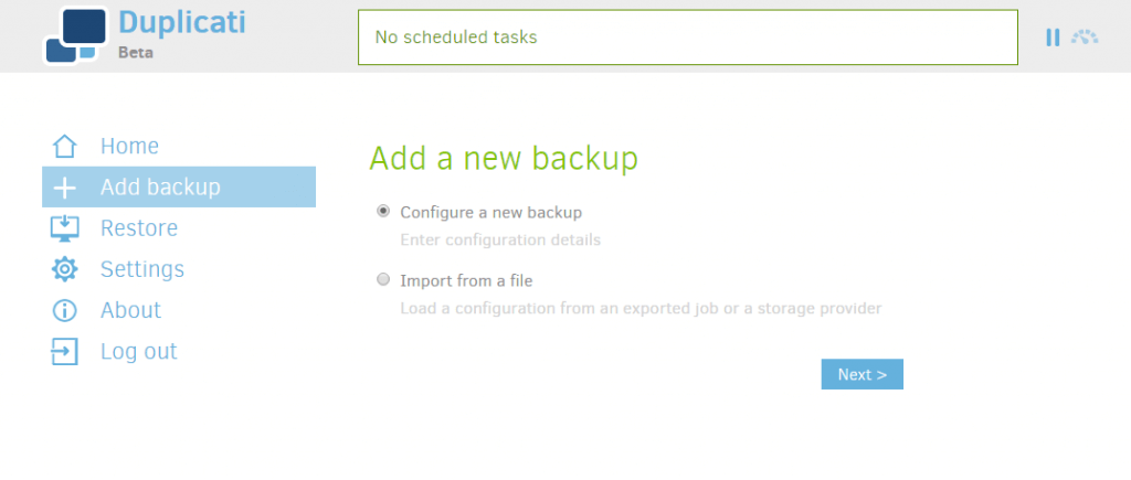 Duplicati - Add New Backup