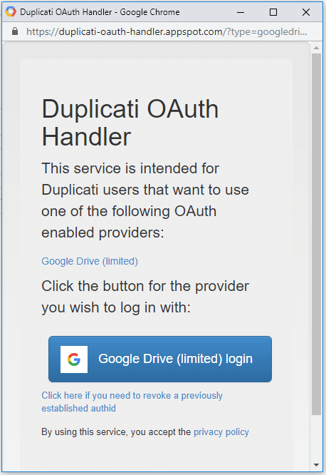 Duplicati - Auth with Google Drive