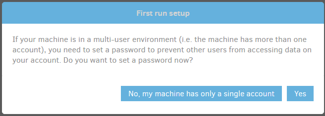 Duplicati - First run add password