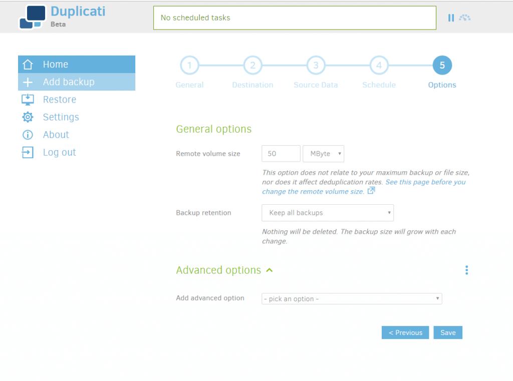 Duplicati -General Options