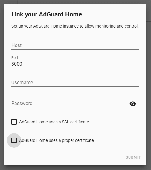 AdGuard Home Authentication Settings for home assistant