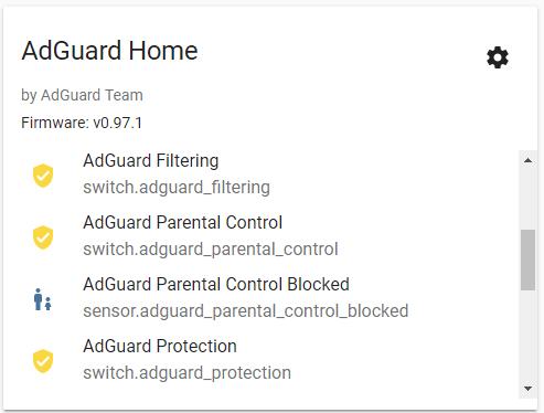 פרטי האינטגרציה של AdGuard Home