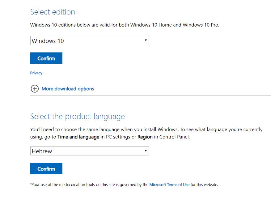 Windows 10 Language Selection