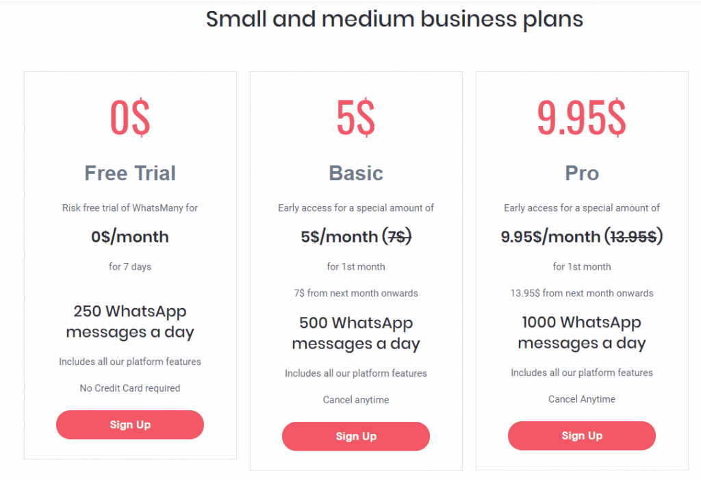 WhatsMany - Pricing Table