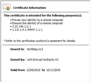 Let's Encrypt Certificate info