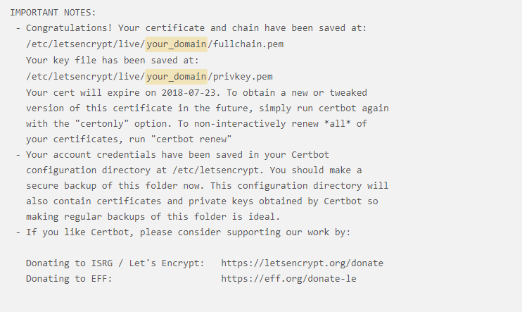 Let's Encrypt - Certbot - Congratulations! Your certificate and chain have been saved - techblog.co.il
